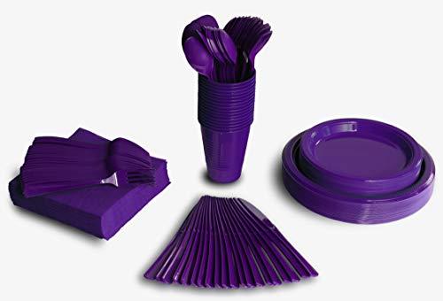 350 PCS Disposable Tableware Combo Pack INCLUDES: 50 9″ Purple Plastic dinner plates | 50 7″ plastic appetizer plates |50 plastic cups | 50 paper napkins | 50 plastic cutlery spoons forks & knives