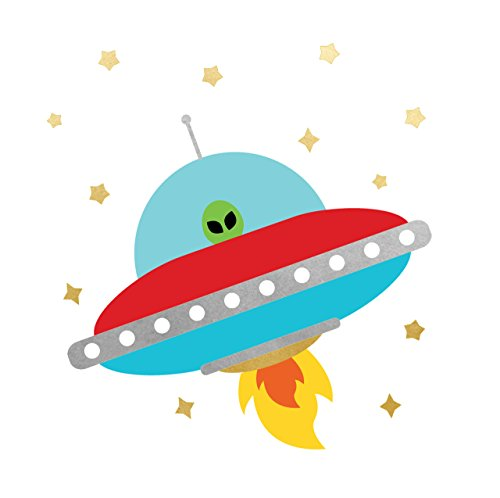 SPACE EXPLORER ALIEN SPACESHIP party tats set of