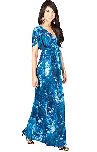 Blue Kimono Dress Empire Sleeve (KOH KOH Petite Womens Long V-Neck Short Kimono Sleeve Summer Flowy Casual Cute Sundress Floral Print Vintage Evening Sexy Sundresses Gown Gowns Maxi Dress Dresses, Blue Gray S 4-6)