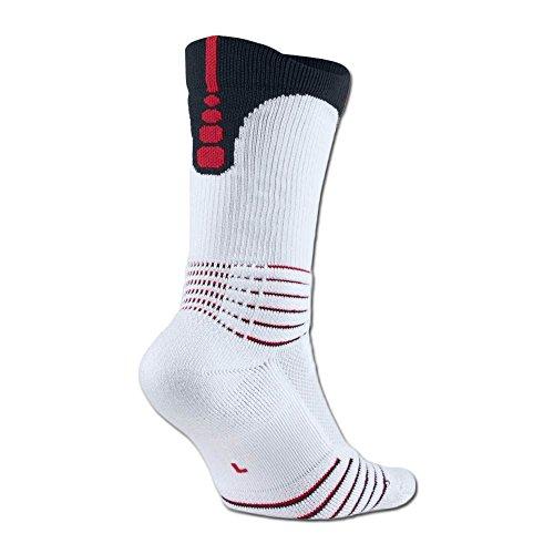 6432c7420 Nike Men's Elite Versatility Crew Basketball Socks White/Black/Red  SX5369-103 (Medium 6-8)