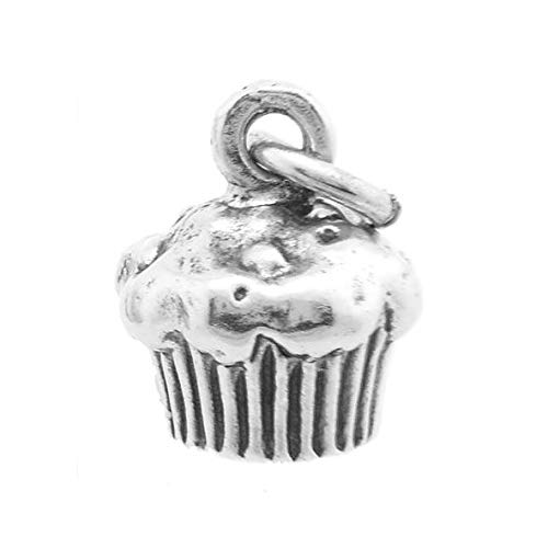Sterling Silver Cupcake Charm (3D Charm - Hollow Bottom) Jewerly Making Supply Bracelet DIY Crafting by Easy to be ()