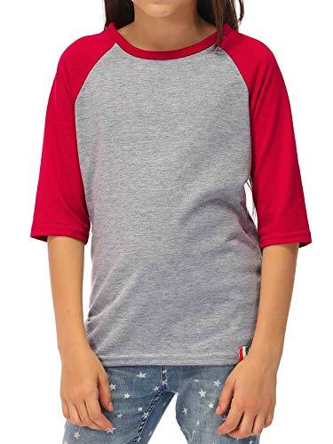 (Baby Boy Baseball Tee 3/4 Sleeve Cotton Tshirt for Girls Raglan Baseball Tee XXS Red/Gray)