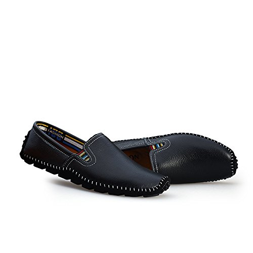 Fisca Men's Leather Driving Flat Shoes Moccasins Casual Slip on Loafers Black lvRIpeeo2T
