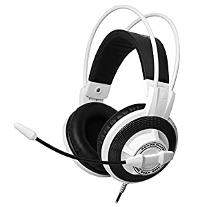 SOMiC G925 Stereo Gaming Headset with Strong Bass, High Definition Mic, In-line Volume & Mic Control, 3.5mm Stereo & 3.5mm Mic Plugs (White)