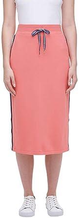 Navy NWT Tommy Hilfiger Women/'s Stretch Logo Midi High-Waist Skirt Coral