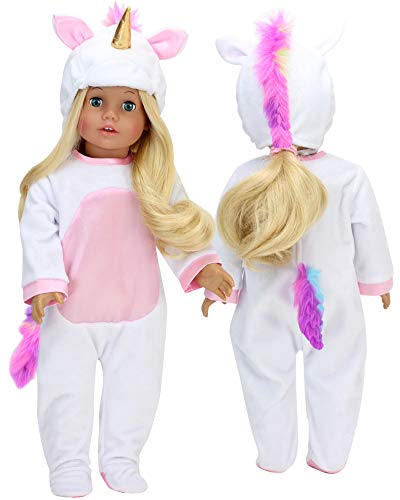 Sophia's 18 Inch Doll Unicorn Costume with Rainbow Hair | 2 Piece Unicorn Doll Outfit for 18 Inch Dolls