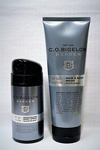 C.O. BIGELOW - Elixir Black - Men's - Hair & Body Wash & Men's Deodorizing Body Spray – Gift Set