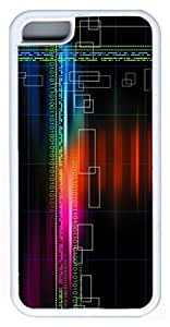Zenzzle Stylish Rubber Case for iPhone 5C (TPU White) - Abstract Multicolor Binary Grid Numbers Black