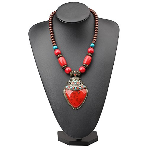 Statement Necklace Tribal Enamel Acrylic Flower Vase Wood Beads Necklace Pendant