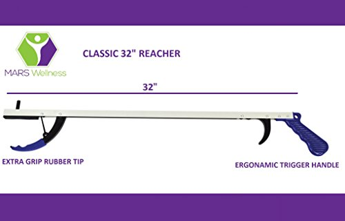 Premium Ergonomic Lightweight Reacher Grabber Tool Mobility Aid - 32 Inch - 2 Pack by MARS Wellness (Image #2)