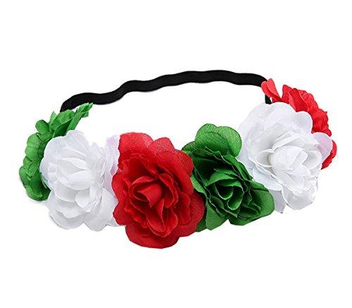 (Love Sweety Rose Flower Headband Floral Crown Mexican Hair Wreath (Christmas))
