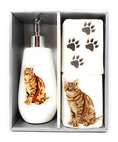 (Traditions Embroidered Dog and Cat Breeds Cotton Fingertip Towels and Soap Dispenser Bath Set (Orange Tabby Cat))
