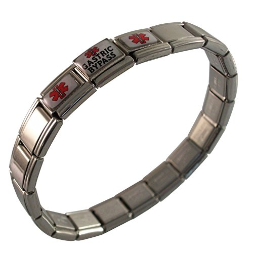 - Gadow Jewelry Gastric Bypass Medical ID Alert Italian Charm Bracelet