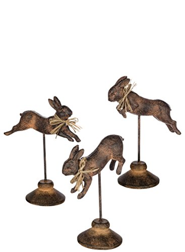 (Sullivans PR2359 Decorative Vintage Hopping Bunnies on Stands Figurines, Brown, 6 to 10 Inches Tall Each, Set of 3)