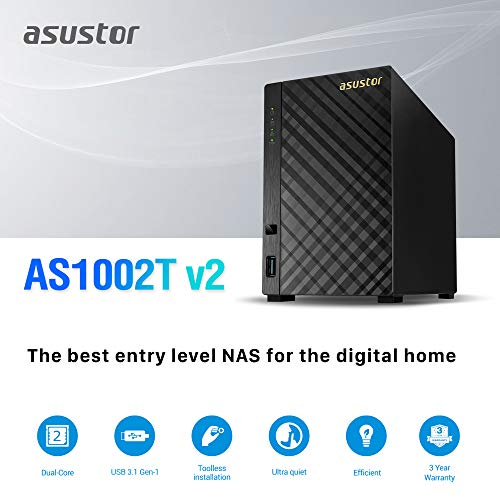Asustor AS1002T v2 | Network Attached Storage + Free exFAT License | 1.6GHz Dual-Core, 512MB RAM | Personal Private Cloud | Home Media Server (2 Bay Diskless NAS) by Asustor (Image #1)