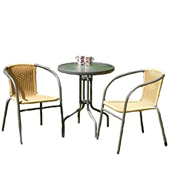 Bambi 2 Seater Bistro Set wRound Table 2 Chairs Amazoncouk