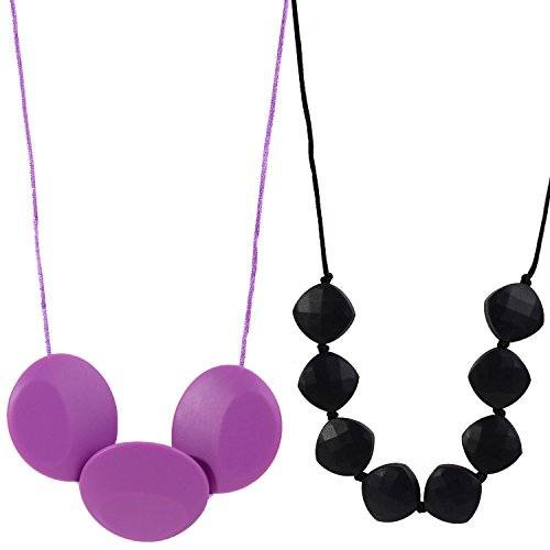 MyBoo Autism/Sensory/Teething Chewable Oval Pendant and Beaded Necklace Bundle - Set of 2, Lilac/Black (Lilac Bundles)