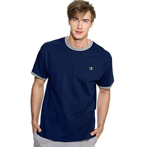 Champion Cotton Jersey Men's Ringer T Shirt_Navy/Oxford Gray_X-Large