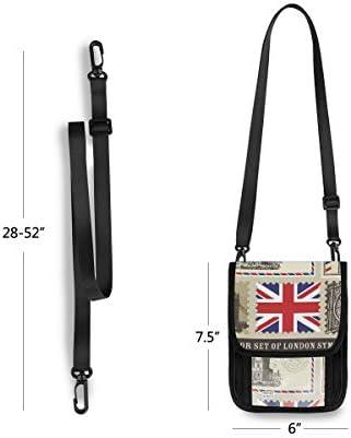 古い新聞 英国旗 パスポートホルダー セキュリティケース パスポートケース スキミング防止 首下げ トラベルポーチ ネックホルダー 貴重品入れ カードバッグ スマホ 多機能収納ポケット 防水 軽量 海外旅行 出張 ビジネス