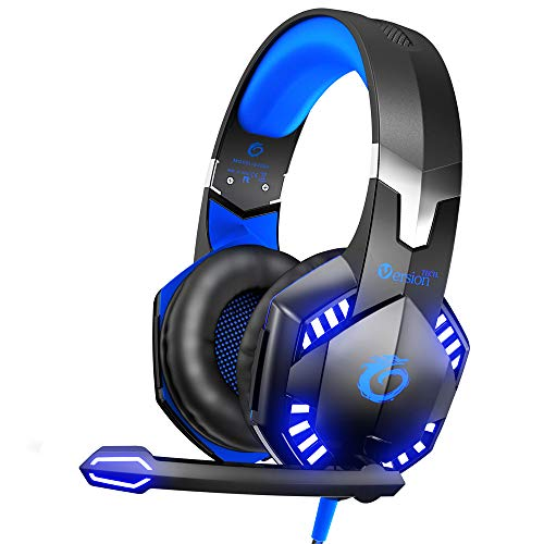 VersionTECH. G2000 Stereo Gaming Headset for Xbox One PS4 PC, Surround Sound Over-Ear Headphones with Noise Cancelling Mic, LED Lights, Volume Control for Laptop, Mac, PS3, Nintendo Switch Games -Blue (Best Surround Sound Gaming Headset Ps3)