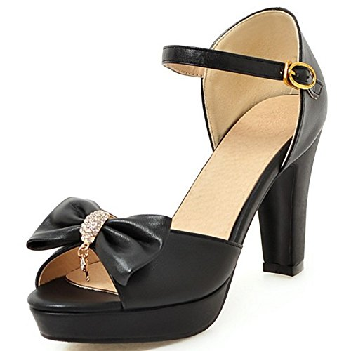 A Peep Bow Buckle block Toe Women Bow With A Heels TAOFFEN High With Black Fashion Sandals SBHFqwKv