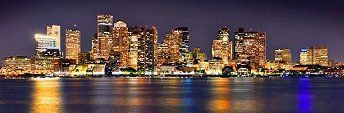 Boston Skyline PHOTO PRINT UNFRAMED NIGHT Color City Downtow