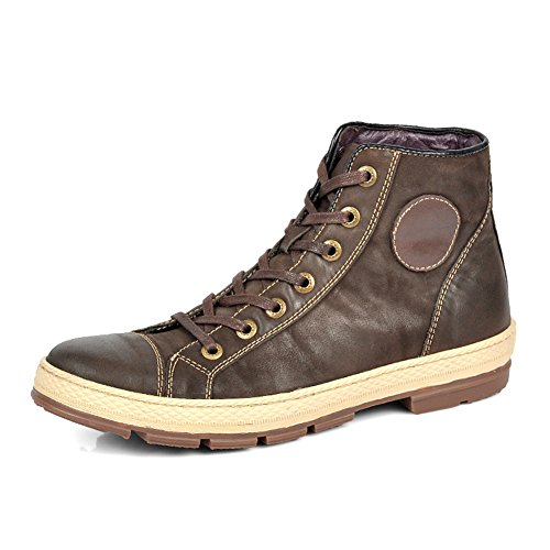 Hugelucky Men's Leather Lace-Up Retro Design Casual Boots (9.5, Brown) by Hugelucky