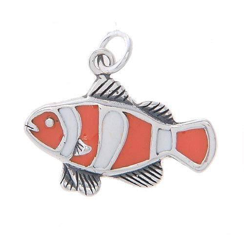 Sterling Silver Clown Fish with Enamel Charm/Pendant Jewelry Making Supply Pendant Bracelet DIY Crafting by Wholesale Charms ()