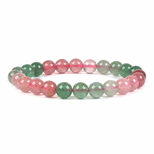 (Natural Multi-color Strawberry Quartz Gemstone 8mm Round Beads Stretch Bracelet 7