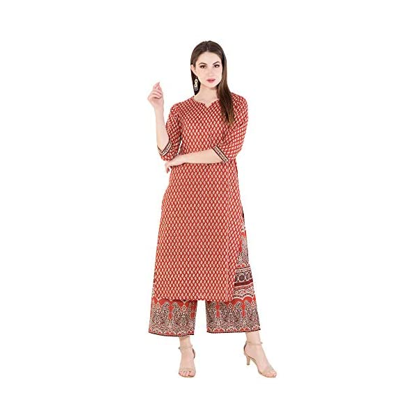 Harshana Womens Cotton Kurta with Palazzo - Printed, Calf Long, Straight Kurtas for Casual Wear