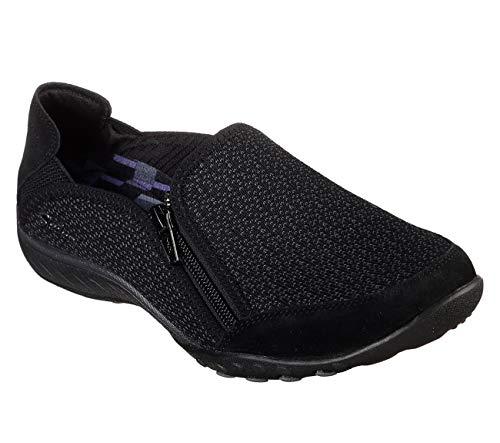 Skechers Women's Breathe-Easy-Quiet-TUDE Sneaker, Black, 8.5 M US