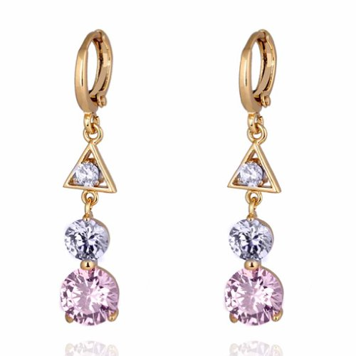 Yazilind Elegant Triangle Hollow Design 18k Gold Filled Inlay Round Clear Cubic Zirconia Dangle Drop Earrings
