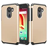 Jitterbug Smart 2 Case, Shock Proof Hybrid Case Dual Layer Protective Phone Case Cover for Jitterbug Smart 2 (2018) - Gold