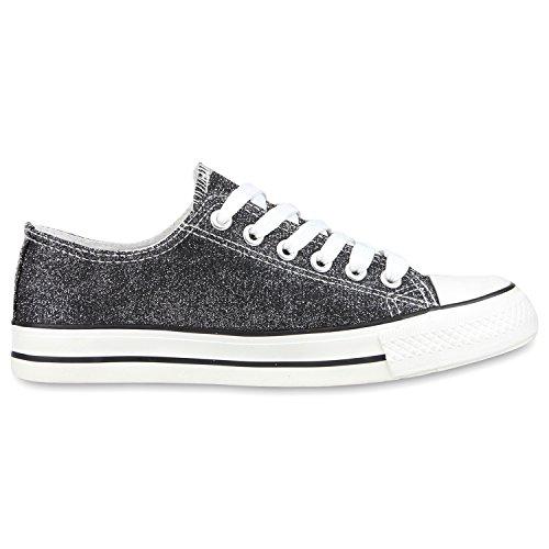 Japado Elegante Damen Sneakers Low Glitzer Canvas Schuhe Turnschuhe Freizeit Gr. 36-41 Schwarz-Weiss