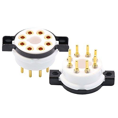 EIZZ 2PCS Ceramic K8A Tube Sockets Base 8pin Gold Plate Brass Pin Audio DIY Amp For KT66 KT88 6SL7 6SN7 6V6 274B 350B