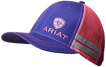 ARIAT Women's Offset Logo Stripe Mesh Snap Cap, Purple, One Size