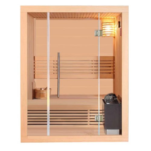 Klassische Sauna incl. Harvia Ofen Modell Stavanger Ecksauna Hemlock Traditionelle Sauna inkl. umfangreichem Zubehör