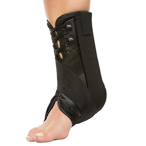 ZenToes Ankle Stabilizer Brace Lace Up Support for Right or Left Ankle | Men and Women | Adjustable Compression Straps | Useful for Sports Injuries, Sprained and Weak Ankles, Swelling (Large)