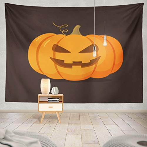 KJONG Halloween-Pumpkin Decorative Tapestry,Halloween Pumpkin with Happy Face Dark Cartoon 60X80 Inches Wall Hanging Tapestry for Bedroom Living Room