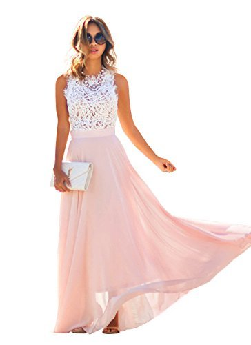 Evening Prom Party Formal Gown - Doreen Womens Vintage Chiffon Formal Prom Party Evening Gown Wedding Maxi Dress Size,White/light Pink,Small