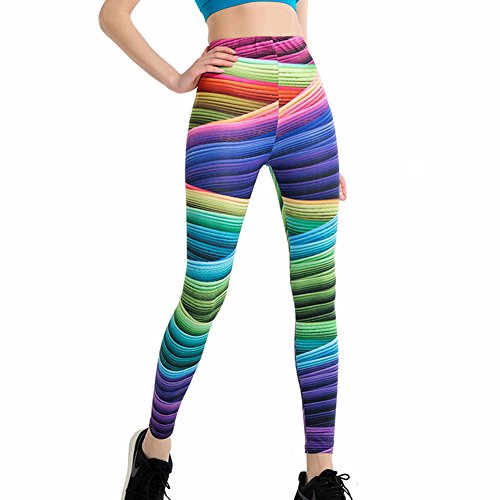 ZSIIBO Women Girl Brightly Colored Printed Yoga Pants Stretchy Pilates Workout Sport Leggings Thin Capris(ColorStorm,M)