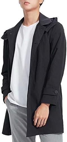 コート メンズ チェスターコート ロング トレンチコート カジュアル ジャケット フード付き アウター ゆったり 無地 リラックス 大きいサイズ 防風 ブラック おしゃれ 3カラー