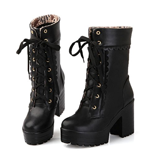 Best 4U? Women's Shoes PU 8cm High Chunky Heels Sweetie Martin Boots Platforms Pointed-toe Shoeslace Casual Style Black pYnQ7
