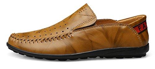 Tda Mens Casual Slip-on En Cuir Penny Mocassins Été Respirant Mesh Low-top Chaussures Kaki