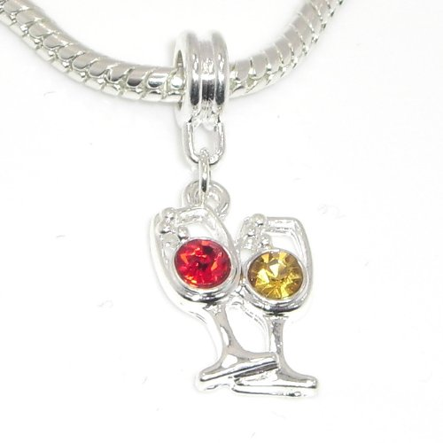 """Price comparison product image Jewelry Monster Silver Finish """"Amber & Red Crystal Rhinestone Wine Glasses"""" Charm Bead for Snake Chain Charm Bracelet 26701"""