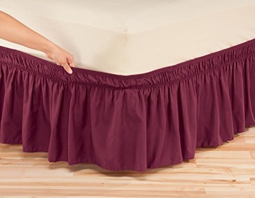 Miles Kimball Solid Wrap Around Elastic Bed Skirt OakRidgeTM