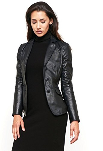 (World Of Leather Women's Lambskin Genuine Leather Jacket Short Blazer Casual (L, Black))