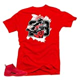 SNELOS Shirt to Match Jordan (Jordan 12 Bulls Goat Shirt (Red), XL)