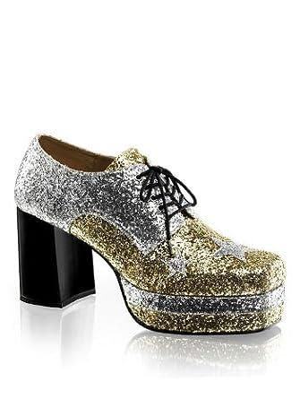Amazon.com: Mens 70s Disco Glitter Platform Shoes - L: Clothing