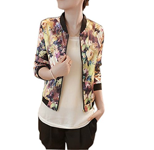 Orangesky Women Stand Collar Long Sleeve Zipper Floral Printed Bomber Jacket (Three Quarter Length Jacket)